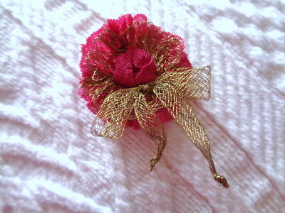 """Lovely Deepest Rose Pink Handmade 1 1/2"""" Flower With French Metallic Mesh"""