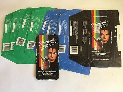 1-VINTAGE MICHAEL JACKSON ORIGINAL CHOCOLATE CANDY WRAPPER ONLY Blue/green 1989