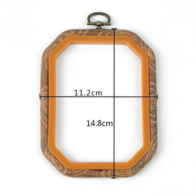 Embroidery Hoops Cross Stitch Hoop Ring Imitated Wood Circle Set Display FrameR5