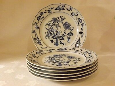 Blue Danube*Blue Onion Dinner Plates*Set of 6*Translucent China*Excellent
