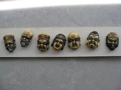 Antique JAPANESE Carved Lucite Lat of 7 WARRIORS Shirt Buttons COLLECTIBLE Great