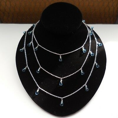 Vintage Solid 925 Sterling Silver Blue Topaz Dangle Wrap Chain Necklace 60 Inch