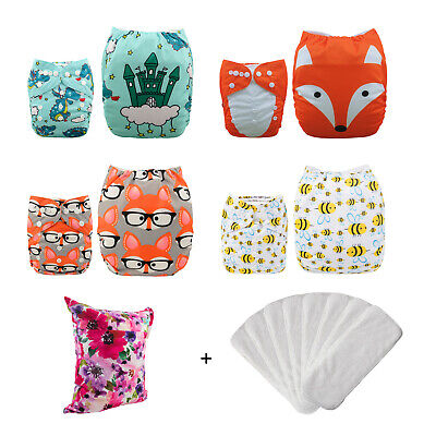 4 ALVABABY Reusable Nappies Washable Baby Pocket Nappy Stoffwindeln+ 8 Inserts