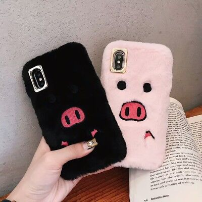 Cartoon Funny Kawaii Embroidery Pig Plush Soft Case For iPhone Xs Max XR 8 7Plus