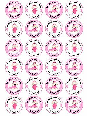 24 x Personalised Christening Baptism Baby Shower Girl Pink Cake Cupcake Toppers