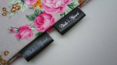 25mm Personalised Clothing Loop Label Black White Silver Gold Craft Sew Handmade
