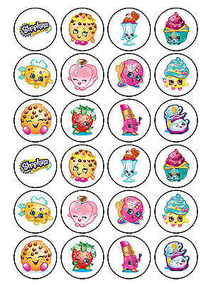 24 x Edible Plain Shopkins Childrens Icing Rice Paper Cup Cake Party Topper