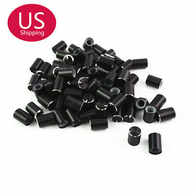 50pcs Black 6mm Dia Aluminum Volume Control Cap Potentiometer Knobs 10*15mm