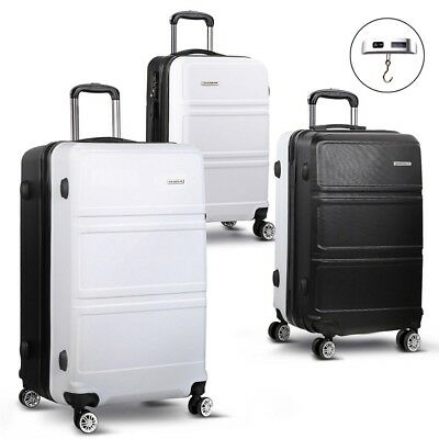 Wanderlite 3 Piece Lightweight Hard Suit Case Luggage Black & White Warranty