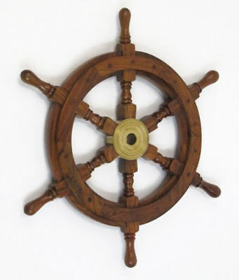 "Teak Pirate Ship's Steering Wheel 18"" Solid Brass Hub Nautical Wall Decor New"