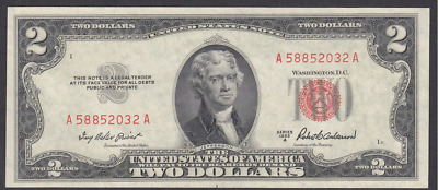 2 Dollar 1953 A  Red Seal UNC