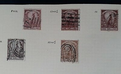 c1888- NSW Australia Lot of 5 x 1/- Centenary of NSW Stamps Used Perfs & Shades
