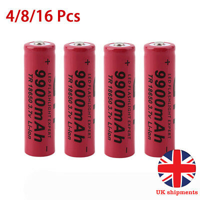 18650 3.7V 9900mAh Li-ion Rechargeable Batteries Battery Cells for Torches New