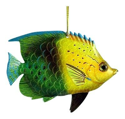 Tropical Fish Sea Life Christmas Ornament 6 Inches Green and Yellow ORN37 Resin