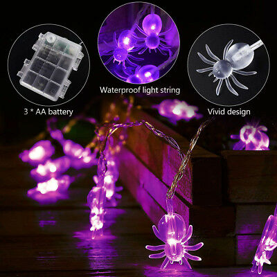 3.5M 30 LED Battery Operated Purple Spiders String Fairy Lights Halloween Decor
