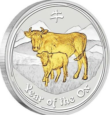 DS 2009 $1 Aust - Lunar Year of the Ox - 1 oz Silver Gilded Edition - Perth Mint