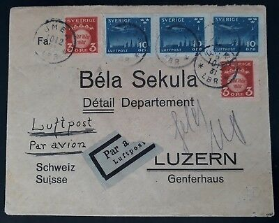 SCARCE 1931 Sweden Airmail Cover ties 5 stamps canc Umeå to Luzerne