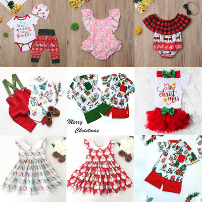 XMAS Newborn Toddler Baby Girls Boys Top Romper Dress Pants Outfits Clothes AU