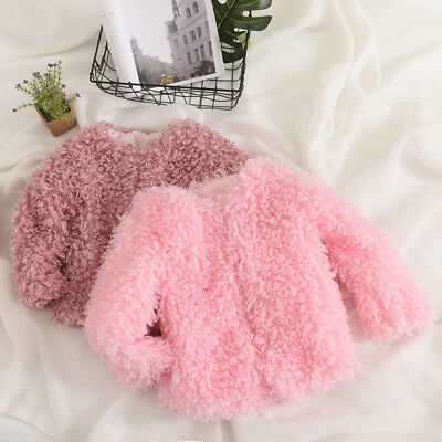 Toddler Baby Girls Fur Hoodie Winter Warm Coat Jacket Thick Clothes Outerwear