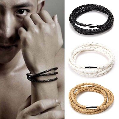 Mens Women Leather BRACELET For Men Wristband Surfer Braided Cord Wrap Man Gifts