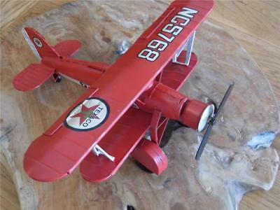 Fabulous! Large Collectors Vintage Style Tin-Plate Metal Model Bi-Plane In Red
