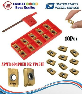 10pcs APMT1604PDER M2 VP15TF Carbide Inserts 25R0.8 Cutters Indexable Milling US
