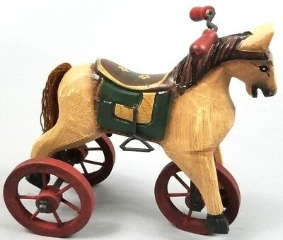 Vintage Wooden Horse on Wheels w/Handle Bars Country Decor