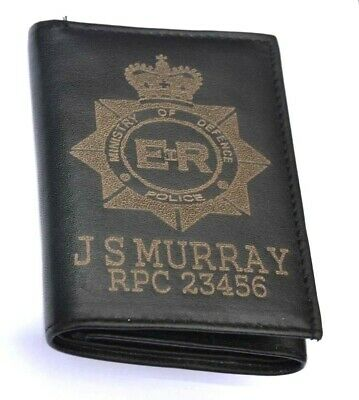 Ministry Of Defence Police Logo Personalised Genuine Leather Wallet Any Name No