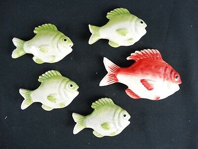 Collectible Vintage Mid Century Pottery School of Fish Spain / Portugal c1950s