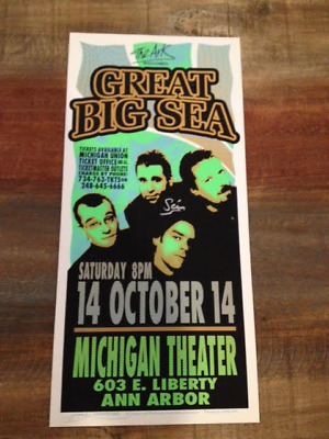 Great Big Sea - Ann Arbor 2000 poster - Autographed signed - Tragically Hip