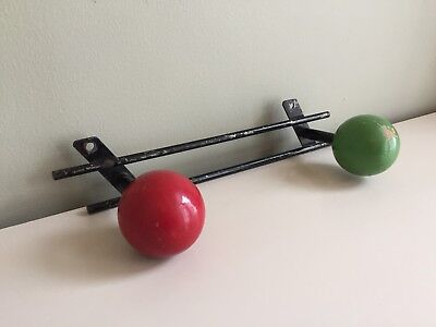 French Vintage Mid Century Atomic Coat Rack 2 Peg Wall Hooks 1950s 1960s Red