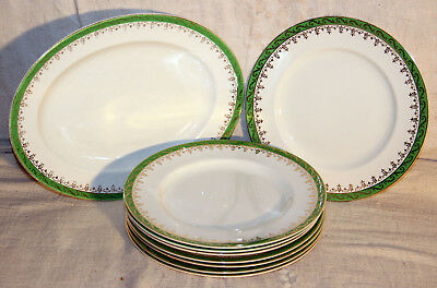 Alfred Meakin Green and Gold Pattern 29cm Meat Plate & 8 x 22cm Dinner Plates