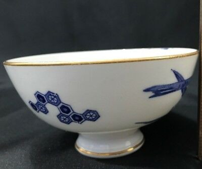 Vintage White & Blue Oriental Porcelain Soup Rice Bowl Gold Trim Geometric Shape