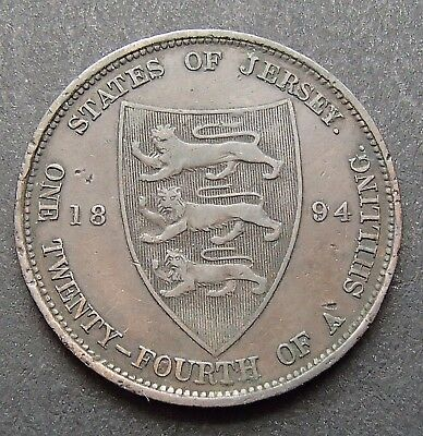 1894 States of Jersey 1/24th Twenty Fourth of a shilling - Half Penny Coin - 910