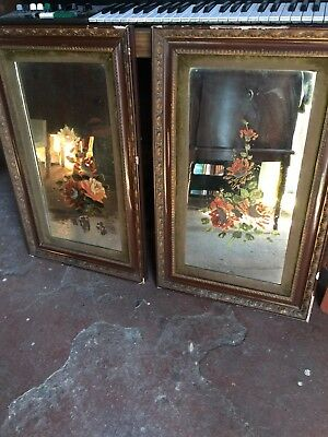 Victorian Painted Mirrors In Wood And Velvet Frames