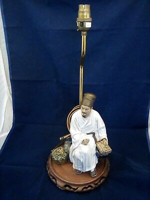 Vintage Chinese Mudman Lamp On Carved Wooden Plynth