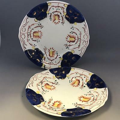 A Pair of Antique Gaudy Welsh Swansea Cottage Tulip Pattern Plates - Mid 19thC