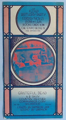 Grateful Dead KZAP Birthday Party POSTER November 21, 1969 Cal Expo Building A