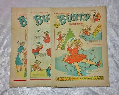 3 1958 1st year issues of Bunty comic including 1st Christmas issue- imperfect