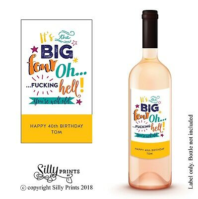 WINE BOTTLE LABEL - Funny sticker for 40th birthday personalised gift friend W3