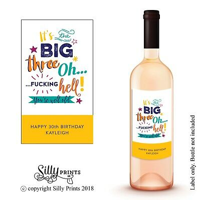 WINE BOTTLE LABEL - Funny sticker for 30th birthday personalised gift friend W4