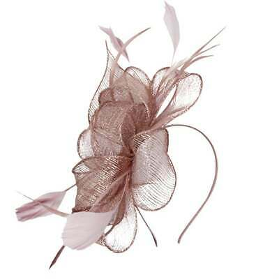 New Ladies Elegant Sinamay Fascinator With Feathers And Lurex Thread