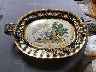 Castilian Porcelain Gold Florentine Tray With Ornate Brass Stand.
