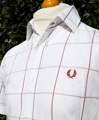 """Fred Perry White/Red Start-Stop Check Shirt - 40"""" - S/M - Ska Mod Scooter Skins"""