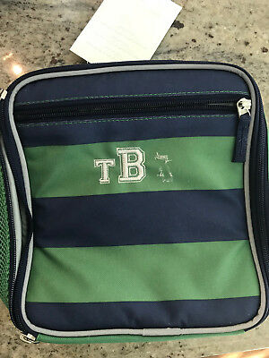 2b6f415afe5af5 Pottery Barn Kids Fairfax Classic Lunch Bag Navy Blue Green Stripe Mono  Partial
