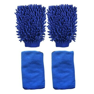 2X(2 Pack Microfiber Car Wash Mitts with 2 Cleaning Towels, High Density, Ul E5)