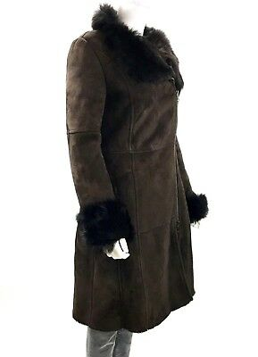 Women's Saks Fifth Avenue Long Suede Shearling Lambskin Brown Coat, Size US 4