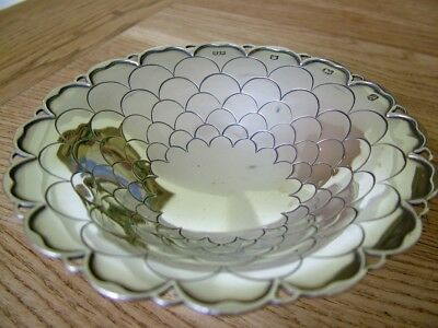 Mappin & Webb Hm1945 Fish Scale Antique Solid English Silver Bowl Dish 89G Nr