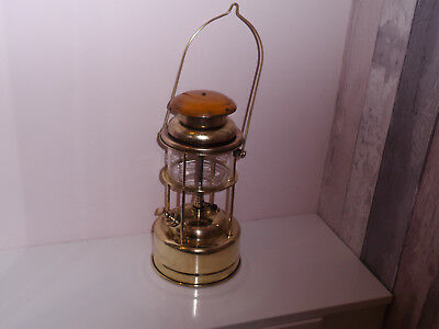 Rare Early All Brass Tilley Lamp Yellow Enamel Cap Polished New Mantel & Washers