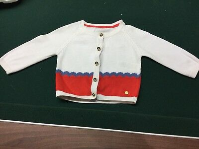 Baby Girls Autograph Cardigan 0-3 Months Red Cream Blue Nautical Ex Condition M&